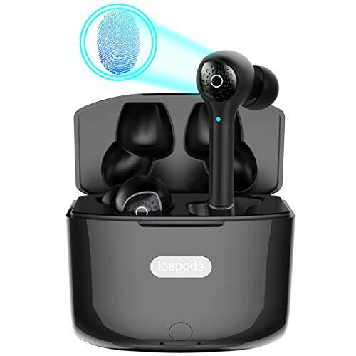Auriculares Bluetooth 5.0 con Sonido Estéreo de Graves Cristalinos y Profundos. Auriculares Inalámbricos con Control Táctil, micrófono con cancelación de Ruido y Estuche de Carga portátil de 1200 mah