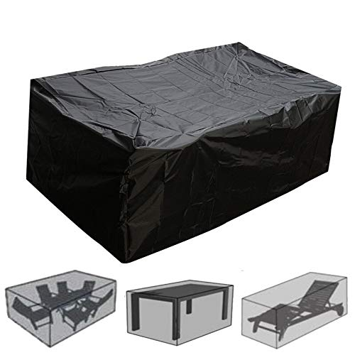 Cubierta Muebles Cubiertas aire libre Muebles de jardín cubierta de la lluvia impermeable Oxford mimbre Sofá Protección Conjunto Jardín Patio Lluvia Nieve prueba de polvo negro Protección Conjuntos