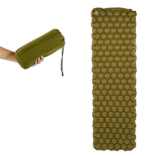 HOUMEL Sleeping Mat for Camping étanche Matelas Simple Matelas de Ultra indéchirable Idéal Nylon et TPU for la Plage, Randonnée, Tente Sac à Dos (Color : Army Green, Size : 190 * 58 * 5cm)