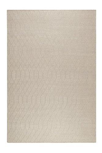 Esprit home I Handweb Kurzflor Teppich/Läufer aus Wolle für Wohnzimmer, Flur, Schlafzimmer I Lotte Kelim ESP-6021-01 | Beige Sand | (130 x 190 cm)