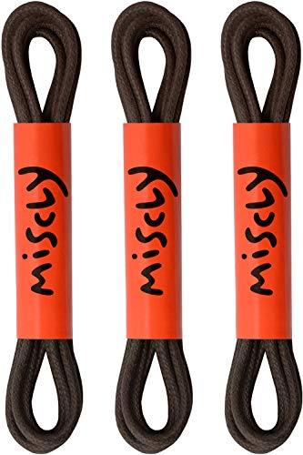 Miscly – Schnürsenkel für Anzugschuhe - Gewachst Rund Reißfest Dünn [3 Paar] – 100% Baumwolle - Ø 2.4 mm (61 cm, Dunkelbraun)