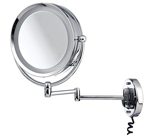 möve Mirrors Spiegel mit 5fach Vergrößerung, Schwenkarm und Beleuchtung ø 22 cm aus Edelstahl, silver