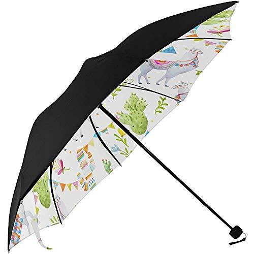 Faltbarer Sonnenschirm Regenschirm Aquarell Muster EIN tibetischer Lama Kakteen Flaggen EIN Unterseite Regenschirm Sonnenhut Qualität UV Regenschirm ady Gir