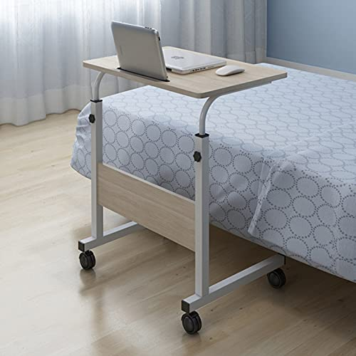 Cajolg Laptop Table Tray Table Office Side Table With Wheels Overbed Table Laptop Cart Adjustable Sofa Side Bed Table Portable Desk For Bed Sofa Office