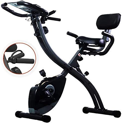 Cubierta de bicicleta de ejercicios, cubierta plegable magnético silencioso Control de la aptitud de la bicicleta con tracción por cable y el asiento ajustable, ajustable resistencia, Control de las p