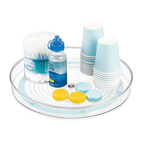 mDesign roterande sminkförvaring – rund sminkhållare i plast och rostfritt stål – förvaringshylla för smink, hudkräm och vitaminer – blå/transparent