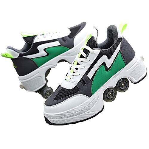 Zweireihige automatische Laufschuhe, unsichtbarer Rollschuh für Frauen, 2 in 1 verstellbare Riemenscheiben-Skateschuhe, Sneaker mit Rädern, für Mädchen/Jungen,Grün,US 8 /EUR 41