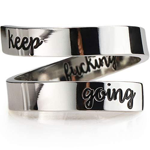 Suyi Keep Going Ring Inspirational Adjustable Ring KFG