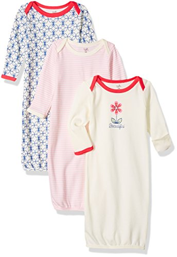 Touched by Nature Unisex Baby Organic Cotton Gowns, Flower, 0-6 Months