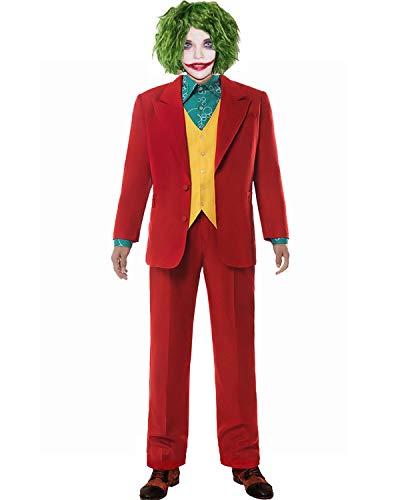 Joker Kostüm 2019 Film Cosplay Outfit Anzug Shirt Weste mit Zubehör für Erwachsene Herren Kleidung 2019 (Anzug, L)