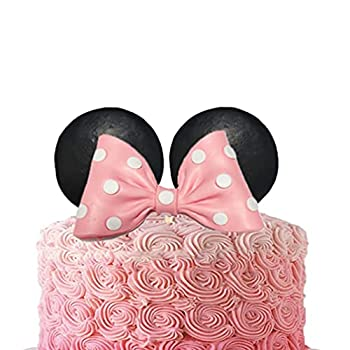 Minnie Mouse Cake Topper Pink Bow and Ears for Birthday