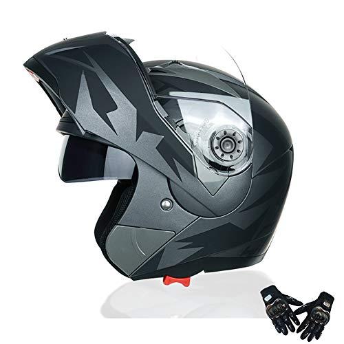 Saihai Casco de la Motocicleta - la Cara Llena Casco Modular la Calle Motocicleta ciclomotor Scooter Moto ATV de Cuatro Ruedas del Casco Todoterreno,Black Eagle Eye,M