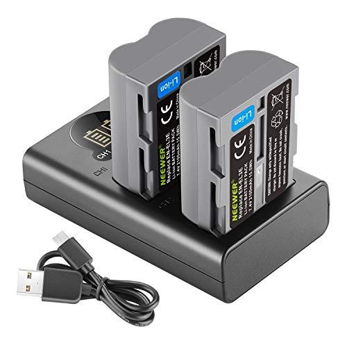 Neewer 2 Pack 2100mAh Reemplazo Batería para Nikon EN-EL3e Batería y Cargador Dual USB con Pantalla LCD Compatible con Nikon D50 D70 D70s D80 D90 D100 D200 D300 D300s D700 Cámaras Digitales SLR