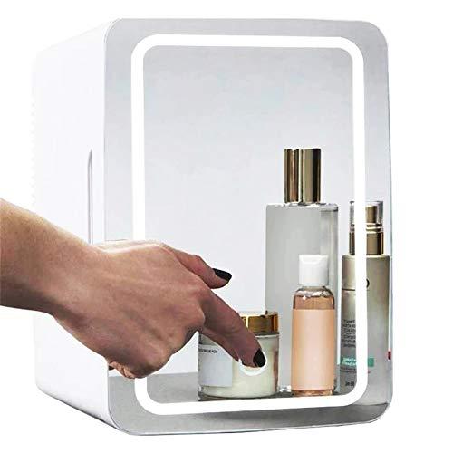 HSJDP Mini refrigerador de Maquillaje de 8 l con Espejo de Maquillaje, congelador más cálido para perfumes, Productos de Belleza para el Cuidado de la Piel y refrigerador para cosméticos