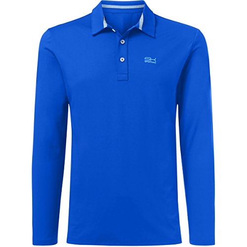 Sportkind Jungen & Herren Tennis, Golf, Sport Poloshirt Langarm, atmungsaktiv, UV-Schutz UPF 50+, Kobaltblau, Gr. XXL