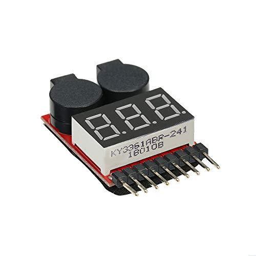 Sangmei Alarme da campainha da tensão baixa do verificador da tensão da bateria do diodo emissor de luz de 1-8S Lipo 2 em 1 verificador do verificador