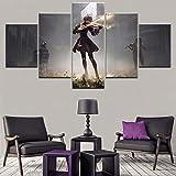 Angle&H Modular Bild Wandkunst Dekor Spiel Poster Segeltuch Drucken 5-Panel Nier Automata 2B Geige Spielen Gemälde zum Wohnzimmer,A,30x40x2+30x80x1+30x60x2