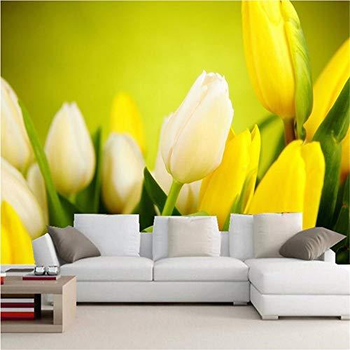 Mddjj Mode Innen Blume Design Tapete 3D Stereo Gelbe Tulpe Fototapete Wohnzimmer Hintergrund Wand Romantische Dekor Tapeten-Fototapete-Kunstdruck -250X175Cm