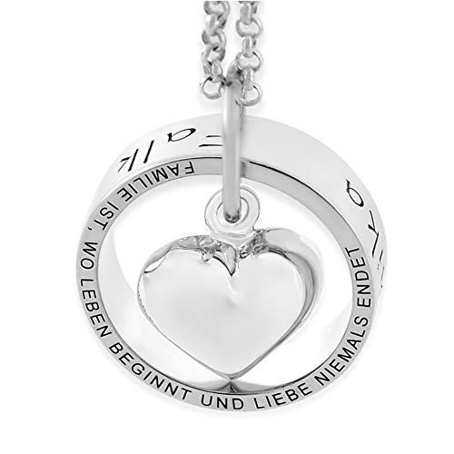 Namenskette Familie Schmuck mit Gravur ❤️ Familienkette mit Spruch Familie ist ❤️ 925 Silber Lebensbaum Kette mit Namen ❤️ Collier mit Gravur für Mama Oma zum Muttertag | HANDMADE IN GERMANY