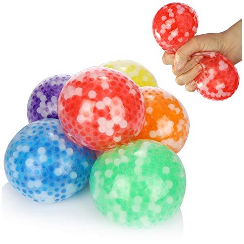 com-four® 6X Anti-Stress-Ball XXL - Quetschball für Kinder und Erwachsene - Knautsch-Ball [Auswahl variiert] (06 Stück - Farbmix 9cm)