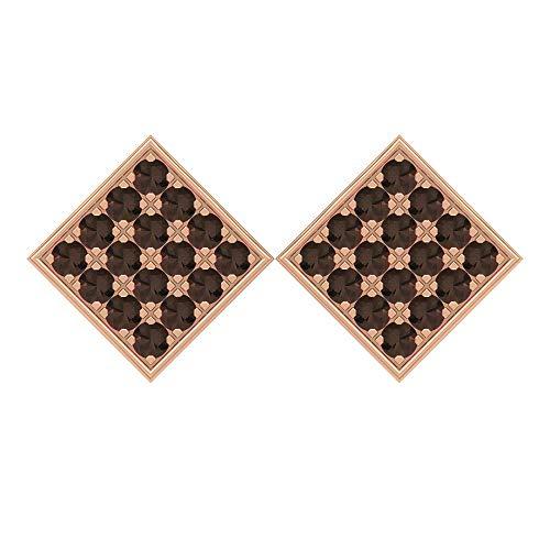 Rosec Jewels - Pendientes de cuarzo ahumado de 1,28 quilates, aretes de oro vintage, pernos cuadrados de racimo y tornillo trasero marrón