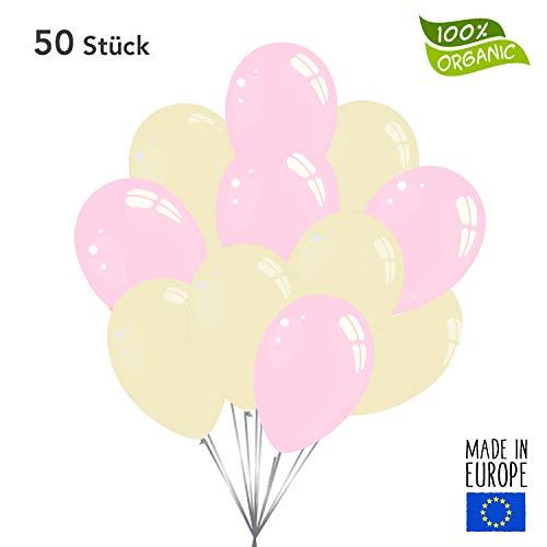 50 Premium Luftballons in Rosa/Creme - Made in EU - 100% Naturlatex somit 100% giftfrei und 100% biologisch abbaubar - Geburtstag Party Hochzeit Karneval - für Helium geeignet - twist4®