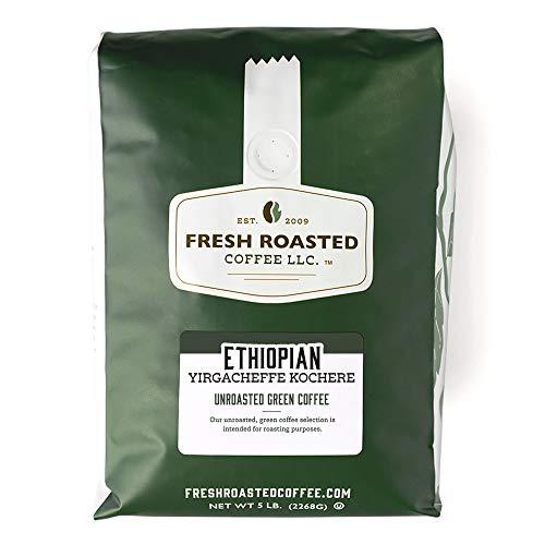 Fresh Roasted Coffee LLC, Green Unroasted Ethiopian Yirgacheffe Kochere Coffee Beans, 5 Pound Bag