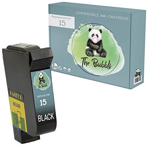 The Bubbli Original | 15 Remanufacturado Cartucho de Tinta Compatible para HP Deskjet 816c 825c 825cvr 840c 841c 842c 843c 845c 845cvr (Negro)