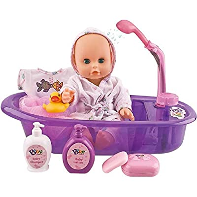 Liberty Imports Little Newborn Baby 13-Inch Bathtime Doll Bath Set - Real Working Bathtub with Detachable Shower Spray and Accessories for Kids Pretend Play