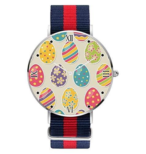 Reloj de pulsera de huevos coloridos para mujer, diseño personalizado, unisex, de acero inoxidable, para negocios, reloj de cuarzo, analógico, casual, para el día de Pascua, para mujer