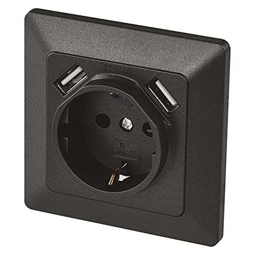 EMOS A6000.3 Enchufe Empotrado con 2 Puertos USB Schuko, Sistema 55, Toma de Corriente con protección de Contacto, 5 V/2,1 A, para teléfonos móviles o Smartphones, Color Antracita