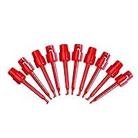 Almencla 小さい部品SMD IC PCBのための10個の赤いミニフッククリップグラバーテストプローブ