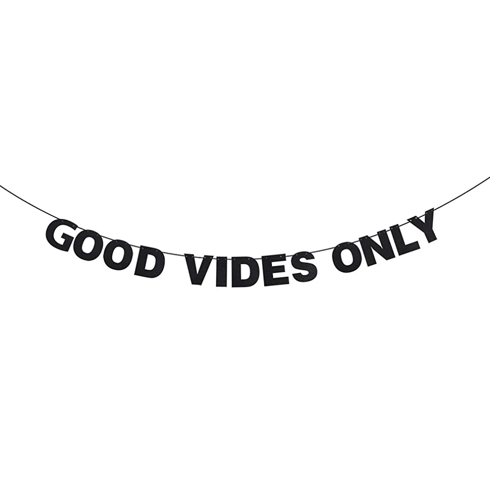Good Vibes Only Inspiration Banner - Black Glitter Rules for Life Sign- Positive Energy Vibes Small Business Motivation Office Home Nursery Hanging Decoration