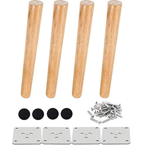 4 pz 25 cm Gambe per mobili in legno Gambe per tavoli in legno massello affusolato Gambe per divani oblique Piedini per mobili di ricambio con viti per piastra di montaggio e protezione antiscivolo