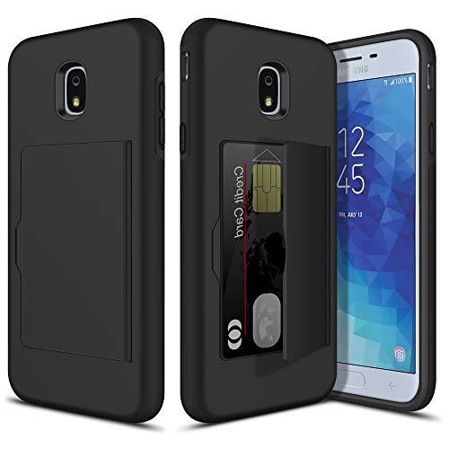 Vofolen for Galaxy J7 2018 Case Wallet Cover Credit Card Holder Slot Dual Layer Protective Hard Shell for Samsung Galaxy J7 Refine/J7 Star/J7 Eon/J7 TOP/J7 Aero/J7 Crown/J7 Aura/J7 V 2nd Gen(Black)