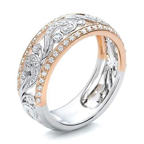 Anillo de boda de oro rosa para mujer, de doble color, con diamantes de imitación, anillo de boda o compromiso A 10