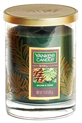 Yankee Candle Classic Glass Tumbler Candle - Balsam & Cedar - Limited Holiday Collection - 10 oz, 30 Hours of Burn time