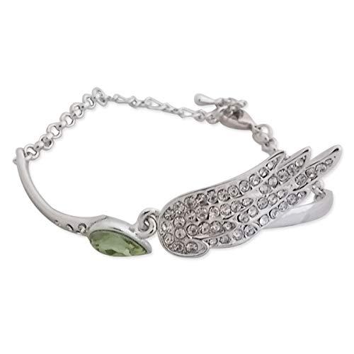 Plata fantasía pulsera, diamante verde falsa y el ala diamantes de imi