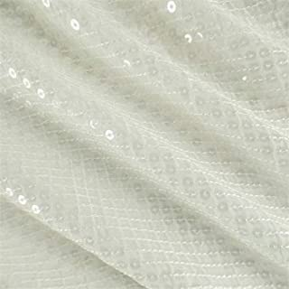 Daisy White Sequin Silk/Cotton Batiste, Fabric by The Yard