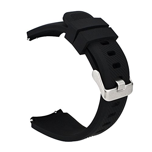 iBazal Cinturino Gear S3 Frontier Classic Silicone 22mm Braccialetto Cinghia Compatibile con Samsung Galaxy Watch 3 45mm/Galaxy 46mm,Huawei Watch GT,Ticwatch Pro Uomo (Orologio Non Incluso) - Nero