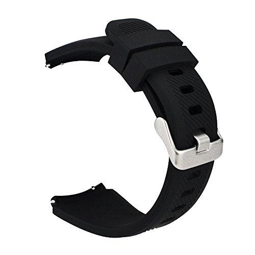 iBazal Cinturino Gear S3 Frontier Classic Silicone 22mm Braccialetto Cinghia Compatibile con Samsung Galaxy 46mm,Huawei Watch GT/2 Classic/Honor Magic,Ticwatch Pro Uomo (Orologio Non Incluso) - Nero