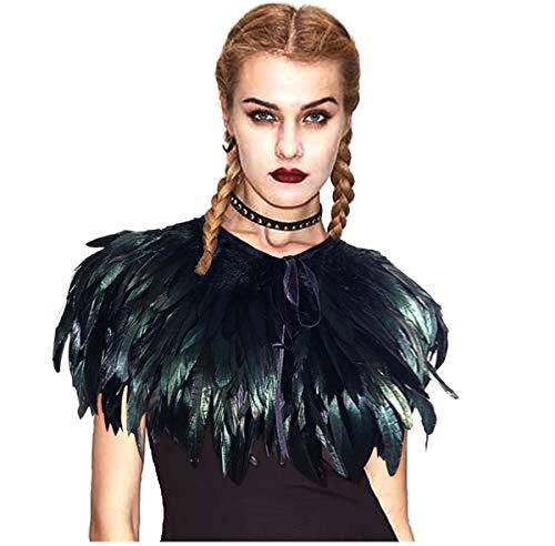 L'VOW Fashion Feather Cape Stole Black Shrug Shawl Poncho Iridescent (black-sty05)
