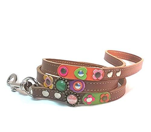 Superpipapo Braun Leder Hundeleine in Style, Handmade Design, 1m und 8 cm, (108 cm), Vintage Floral Design mit Blumen und Steine