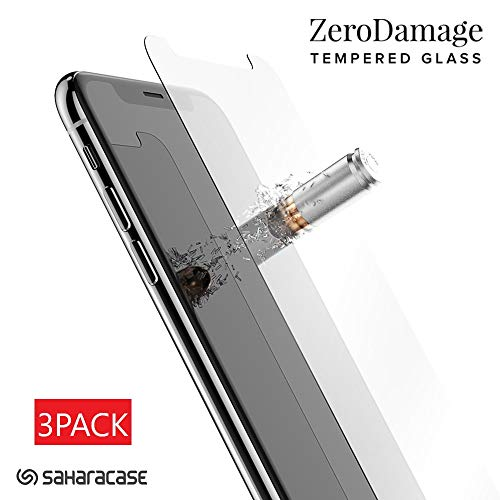 SaharaCase [3pack] HD Glass Screen Protector + Installation Tool 9H Hardness for iPhone Xs Max and iPhone 11 Pro Max 6.5'