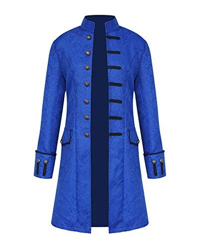 Chaqueta Abrigo Steampunk para Hombres Abrigo Renacentista Medieval Azul 3XL