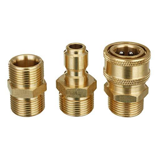 RENCALO 3 Piezas M22 a 3/8 Conexiones de tuberías de Acoplamiento de Manguera de arandela de presión de conexión rápida