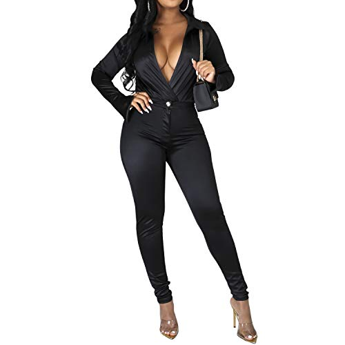 Sedrinuo Womens 2 Piece Outfits Silk Sexy Long Sleeve Deep V Neck Bodysuit and Long Pants Tracksuits Black