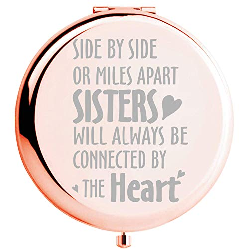 Fnbgl Sister Gifts from Sister Side by Side or Miles Apart Sisters Inspirational Compact Mirror Best Sister Birthday Gift, Funny Ideas for Big Little Sister, Soul Sister, Best Friend