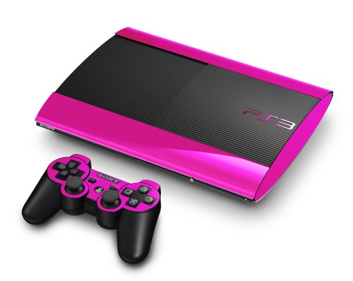 Pink Chrome Mirror Vinyl Decal Faceplate Mod Skin Kit for Sony PlayStation 3 Super Slim Console by System Skins