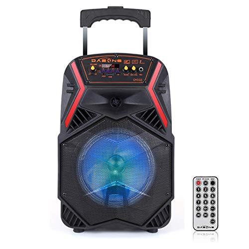 DAZONE - Altavoz portátil de 8 pulgadas con iluminación LED, batería recargable integrada, Bluetooth/USB/SD/AUX/FM, perfecto para escuelas, conferencias o fiestas Bar (negro + rojo)